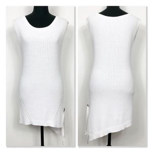 NWOT Black Tape_ White Sleeveless Knit Tunic